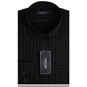 YOUNGOR雅戈尔男装 商务休闲 全棉 黑色印花衬衣 长袖衬衫 修身款 YH13422-01