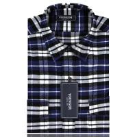 YOUNGOR雅戈尔全棉绒格布深蓝色格子修身版长袖衬衫RM14164-21Y