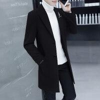 男士风衣中长款韩版修身潮流帅气毛呢大衣冬季青年羊毛呢子外套男