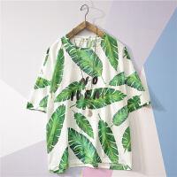 男短袖T恤圆领夏季潮流日系韩版宽松休闲印花5五分袖体恤衣服学生