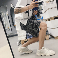 港风2018男士短裤个性潮流嘻哈花短裤松紧休闲裤青年男裤夏季男裤