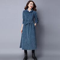 腰带风衣女秋装新款民族风女装中长款长袖复古文艺中国风外套