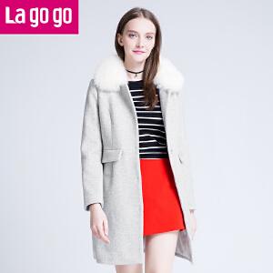 拉谷谷/lagogo2016年冬季新款时尚毛领纯色毛呢外套