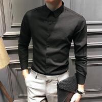 男士长袖衬衫休闲黑色衬衣男潮流帅气商务寸