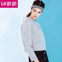 Lagogo拉谷谷秋装新款T恤女宽松常规时尚圆领字母印花长袖卫衣