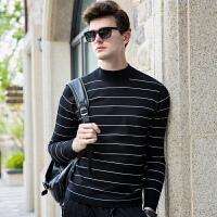 伯克龙 男士毛衣秋冬季半高领针织衫纯色青年修身保暖条纹黑色打底衫 Z37419