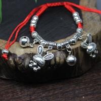 铃铛脚链女铃铛跳舞有声音转运珠红绳编织手绳