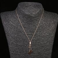 韩版女士钛钢项链镀玫瑰金色锁骨链简约潮人约会饰品 项链1条