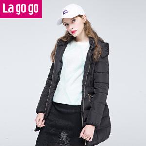 Lagogo/拉谷谷2016年冬季新款时尚拉链口袋连帽羽绒服