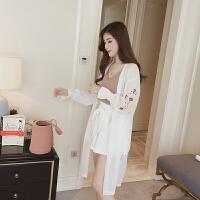 2018夏季新款韩版刺绣雪纺披肩开衫中长款大码沙滩防晒衣空调服女