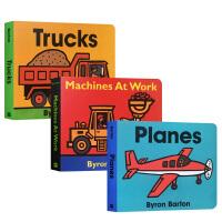【全店300减100】美国图书馆协会推荐绘本Byron Barton经典交通工具作品3本纸板书套装Boats Truck