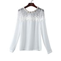 春夏季雪纺衫长袖女打底衫小衫显瘦纯色圆领修身百搭上衣