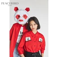 红色衬衫女五分袖宽松韩版棉2018夏装新款领上衣太平鸟女装