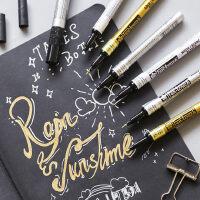 日本樱花牌油漆笔补漆笔不易掉色轮胎笔签名笔细铜金色银色白色记号笔防水油性马克笔手绘DIY美术高光绘画笔
