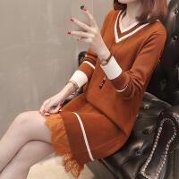2018秋装新款韩版宽松毛衣外套女中长款V领蕾丝拼接针织衫打底裙 均码