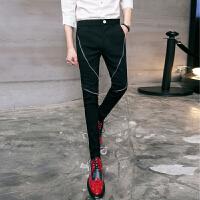 夏季个性发型师拉链装饰修身小脚裤韩版男士休闲西裤潮男长裤
