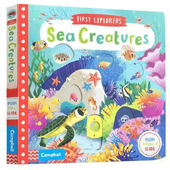 英文原版 First Explorers Sea Creatures 海洋动物推拉滑动机关操作纸板书 小小探险家 儿童知识科普幼儿认知趣味玩具书 0-5岁