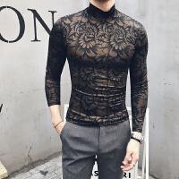新款毛衣男半高领韩版修身薄线衣男装秋冬潮流提花打底针织衫英伦