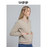 【清仓3折价179.7】Lagogo拉谷谷2019冬季针织外搭 长袖圆领针织衫外套女HCMM839H23
