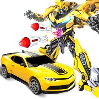 机器人男孩儿童 遥控一键变形玩具金刚5模型大黄蜂大汽车