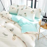 床上用品水洗棉四件套全棉纯棉公主风床单被套被子三件套