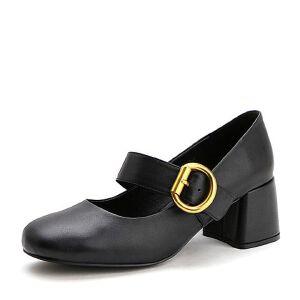 Belle/百丽2017春黑色时尚复古牛皮女单鞋17101AQ7