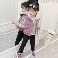 女童套装秋冬装2018新款洋气儿童装冬季中大童时髦加厚加绒三件套