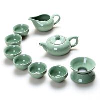 整套功夫茶具套装陶瓷茶壶茶杯 青瓷冰裂釉茶具家用