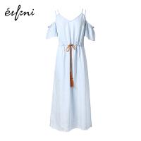【商场同款】伊芙丽夏装新款落肩袖短袖天丝连衣裙1180512196571