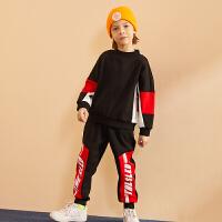 【2件3折价:156】巴拉巴拉旗下巴帝巴帝2019冬男童中大童时尚撞色儿童加绒运动潮酷套装