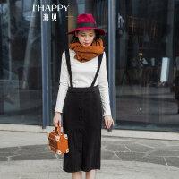 海贝2017冬季新款女装 高腰修身单排扣装饰黑色背带裙半身裙中裙