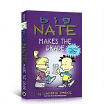 英文原版 Big Nate Makes the Grade 大内特系列捣蛋王考了一百分 儿童全彩漫画故事书 滑稽搞笑