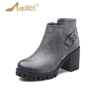 【冬季清仓】阿么复古马丁靴高跟踝靴粗跟英伦短靴子厚底机车靴女鞋子