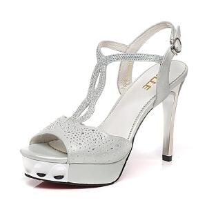 Belle/百丽夏专柜同款布纹羊皮优雅细高跟女凉鞋Q2D1DBL6