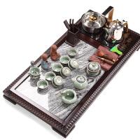 功夫茶具整套装紫砂茶具哥窑简约家用组合实木整块石头黑檀木茶盘