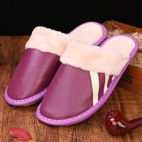 牛皮拖鞋冬季女居家真皮保暖棉拖鞋防滑室内木地板厚底情侣拖鞋男
