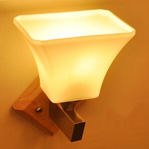 【每满100-50】实木壁灯过道阳台北欧原木风格卧室床头简约 卧室床头灯 玻璃实木壁灯YX-LMD-2130