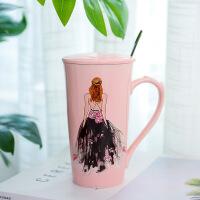 陶瓷杯手绘美女烫钻婚纱时装礼服粉色创意马克杯咖啡杯情人节送女友闺蜜实用礼物SN6193 401-500ml