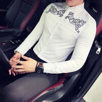 秋冬新款男士韩版修身印花免烫长袖衬衫潮流英伦男式立领衬衣服