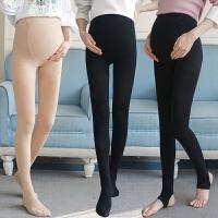 孕妇装2018秋装新款高弹力修身显瘦托腹可调节孕妇连体踩脚袜薄款