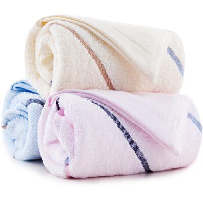 三利 纯棉布条缎档面巾3条装 洗脸毛巾 33x72cm