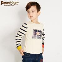 【3件4折 到手价:239】Pawinpaw卡通小熊童装冬男童撞色条纹印花毛衣长袖套头