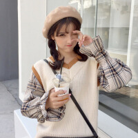 秋冬女装2017新款韩版格子拼接假两件套套头毛衣学生针织衫宽松潮