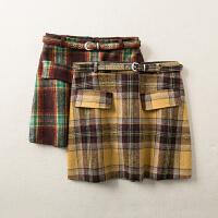 秋冬装新款高腰格子百搭包臀假口袋毛呢半身裙