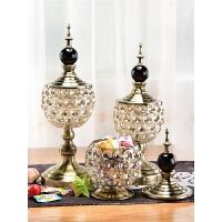 欧式玻璃糖果罐带盖糖罐 家居装饰茶几糖果盘摆件创意储物罐