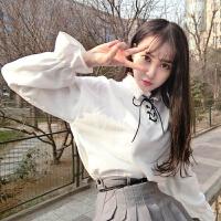 慈姑春夏装女装韩版新款白色衬衫上衣宽松灯笼袖系带打底衫长袖衬衣学生 均码