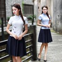 中国风短袖旗袍上衣夏改良中式修身唐装棉麻茶服复古汉服日常衬衫