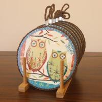 田园装饰工艺品 陶瓷餐垫 欧式复古咖啡杯垫 创意隔热垫摆件