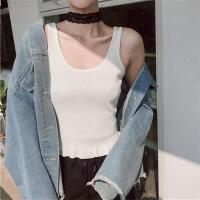 20180327141354948韩版新款工装针织衫背心女春夏显瘦短款露肚脐打底衫学生纯色吊带