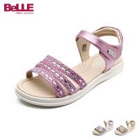 百丽Belle童鞋儿童凉鞋夏季新款中大童水钻露趾公主鞋女童休闲学生鞋 DE0240